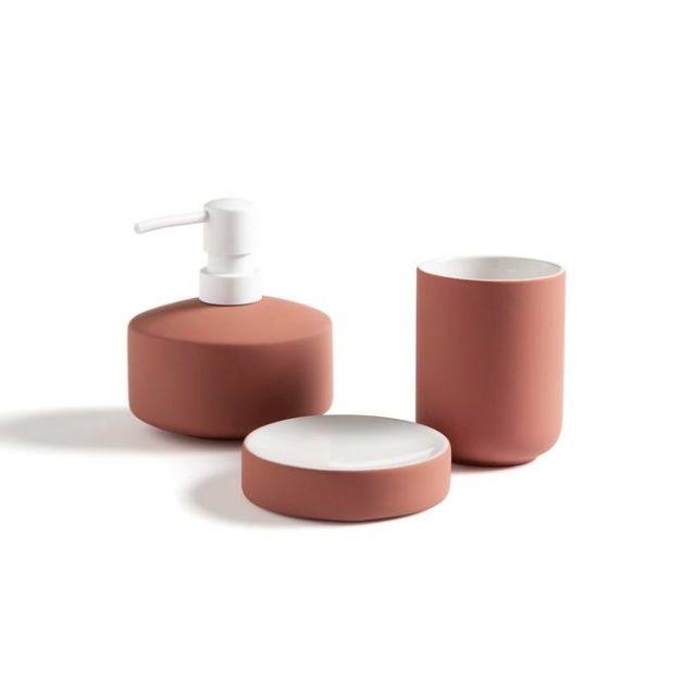 salle de bain deco accessoire set savon couleur terracotta