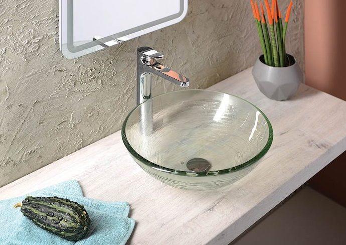 salle de bain elegance vasque en verre transparent simple lavabo