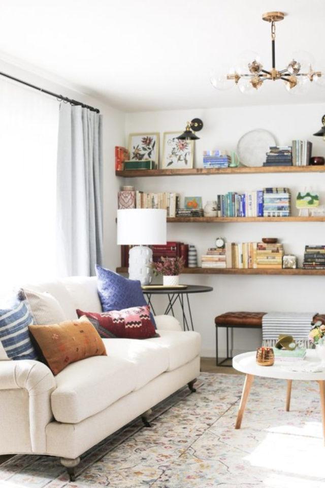 salon luminaire appoint exemple bout de canapé lampe à poser abat-jour simple blanc