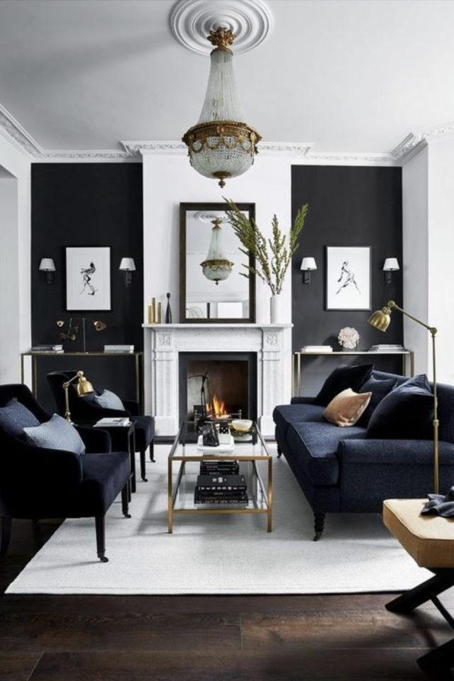 salon luminaire appoint exemple lampadaire couleur doré laiton style classique chic