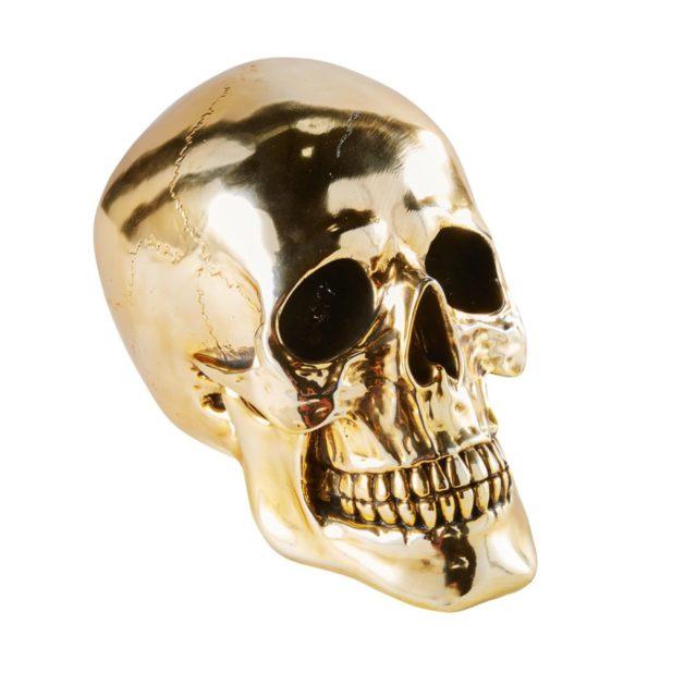 deco rock idee shopping accessoire décalé tête de mort crâne doré