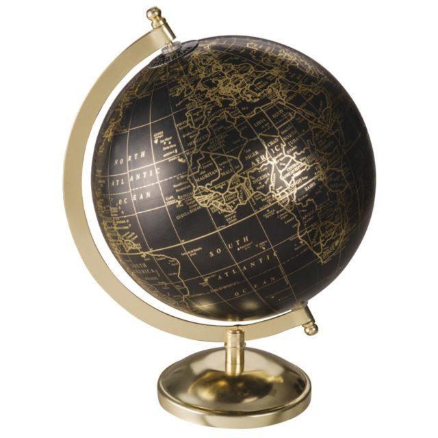 deco rock idee shopping globe terrestre noir et doré