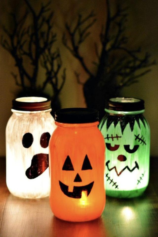 halloween exemple deco diy à faire soi même lampe facile à faire récup