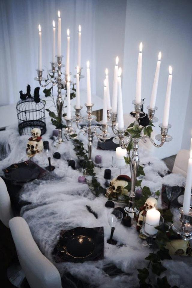 halloween exemple deco diy décor de table chandelier bougie