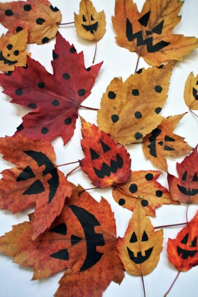 halloween exemple deco diy feuilles automne dessin facile