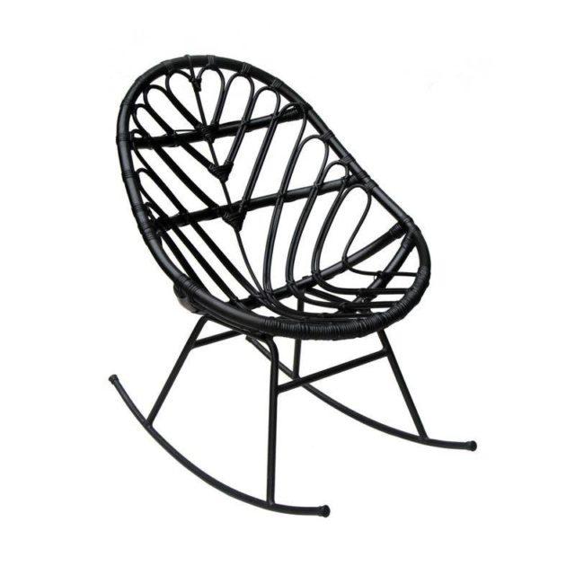 ou trouver deco rock chaise à bascule noire rotin