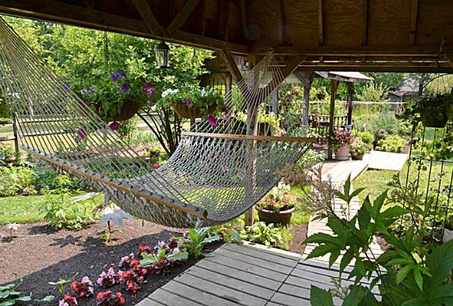inspiration deco exterieur jardin terrasse hamac