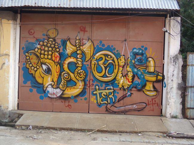 street art pondicherry graf ganesh