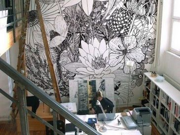 inspiration idee deco bureau papier peint