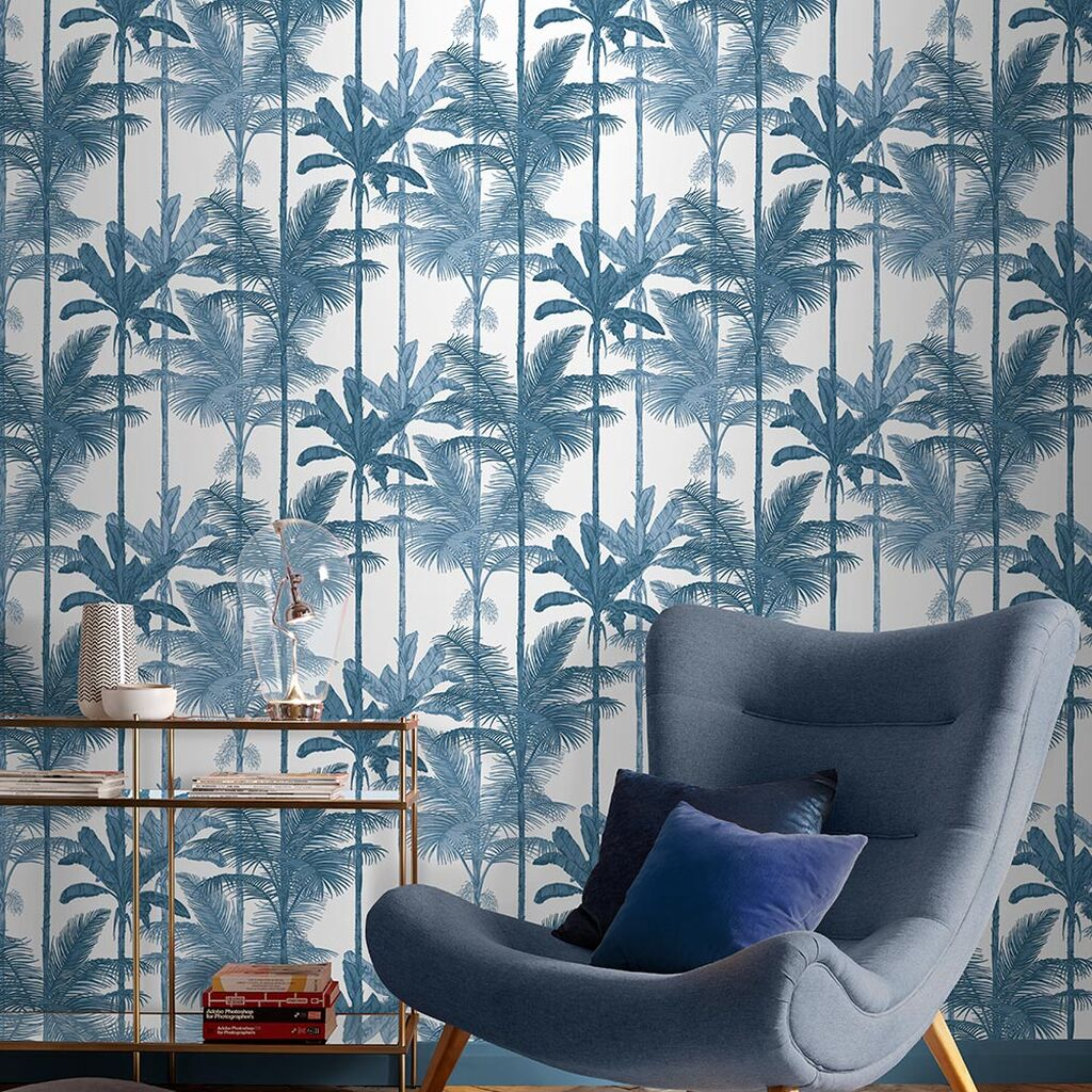salon papier peint bleu motif tropical