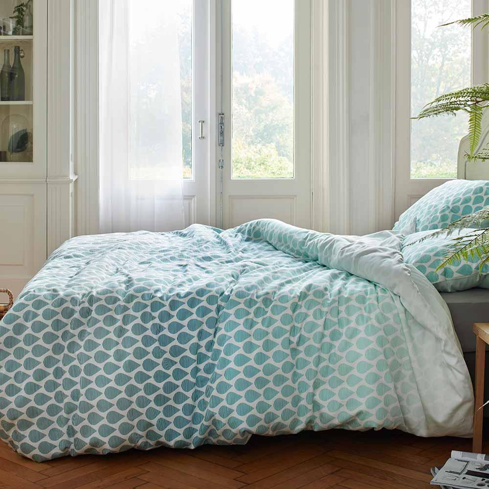 deco chambre vert contemporain linge de lit  Cocon - déco & vie
