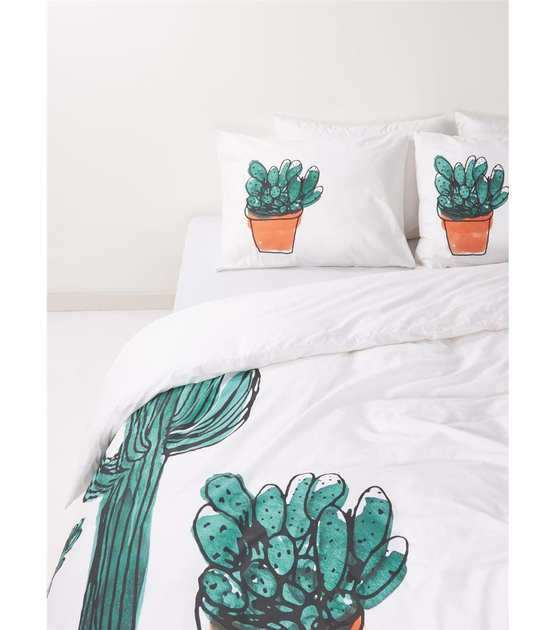 decoration chambre linge de lit cactus