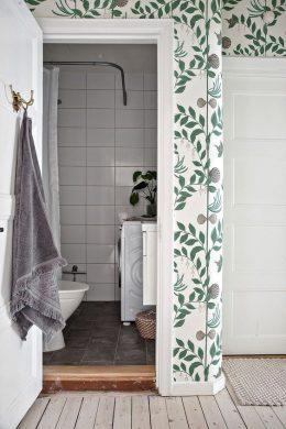 deco salle de bain vert plante peinture papier peint