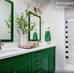 idee deco salle de bain mobilier vert