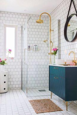 meuble sous vasque salle de bain vert