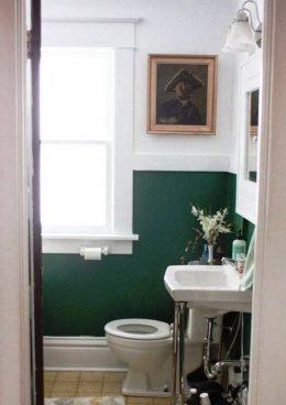 salle de bain vert fonce idee deco
