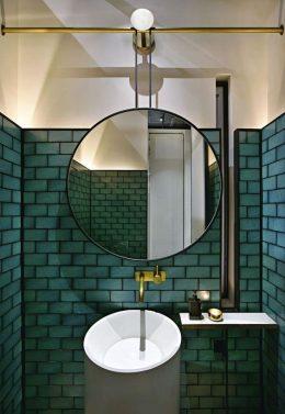 salle de bain verte decoration carrelage