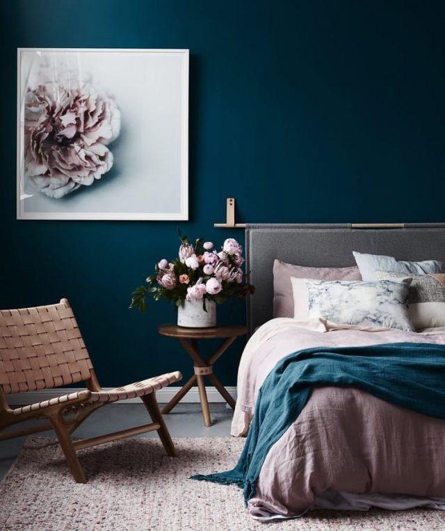 chambre bleue canard et rose