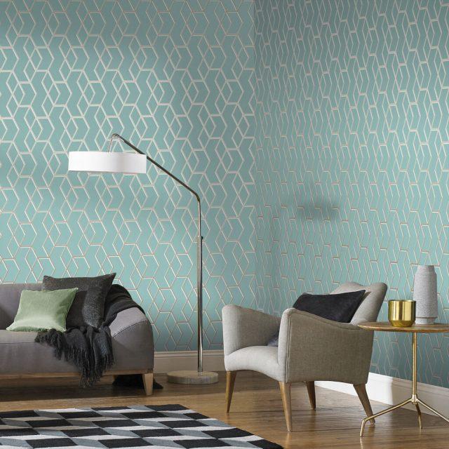 salon couleur vert papier peint menthe et or