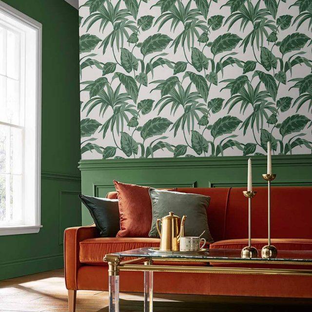 salon couleur vert papier peint vert blanc tropical