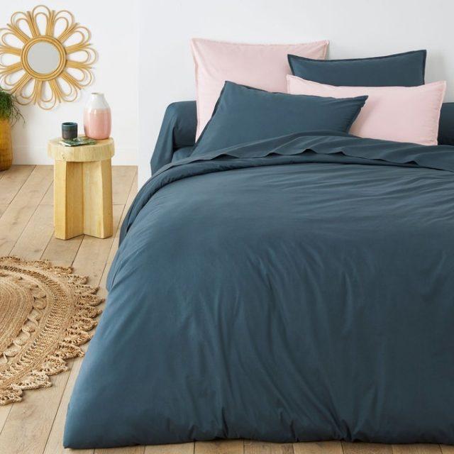 deco chambre parure de lit bleu petrole