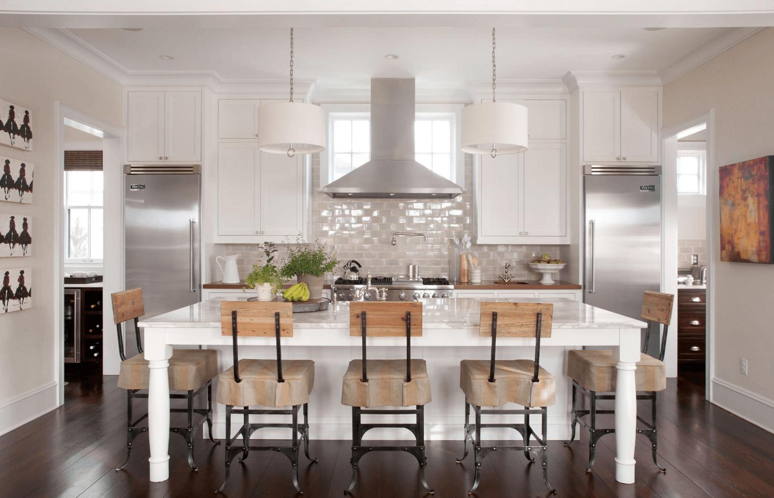 Deco Cuisine Blanche Et Bois idées déco] du carrelage blanc et du bois dans la cuisine
