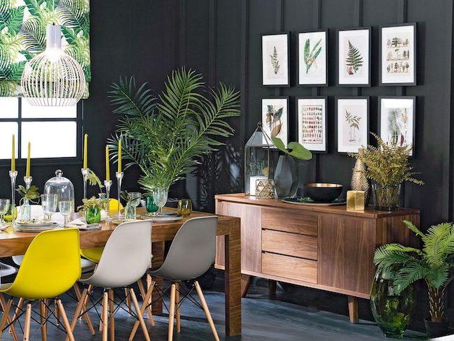 salle a manger decor plante tropicale