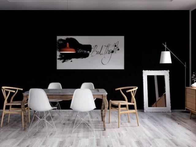 idee decoration salle a manger mur noir