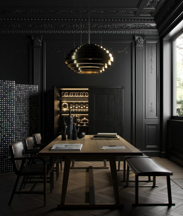 salle a manger decoration colorblock noir