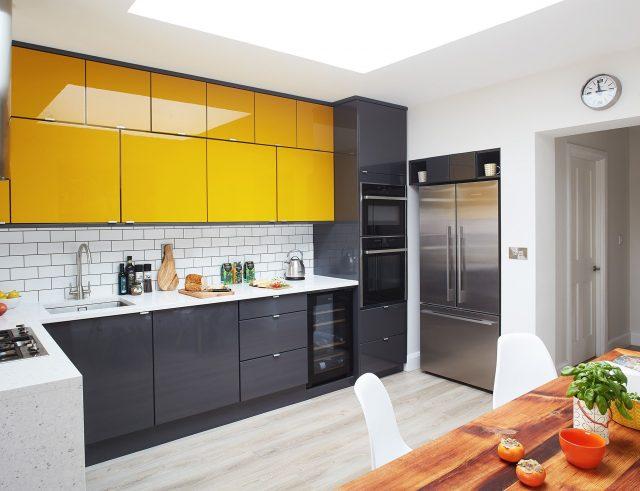 cuisine moderne grise blanche jaune