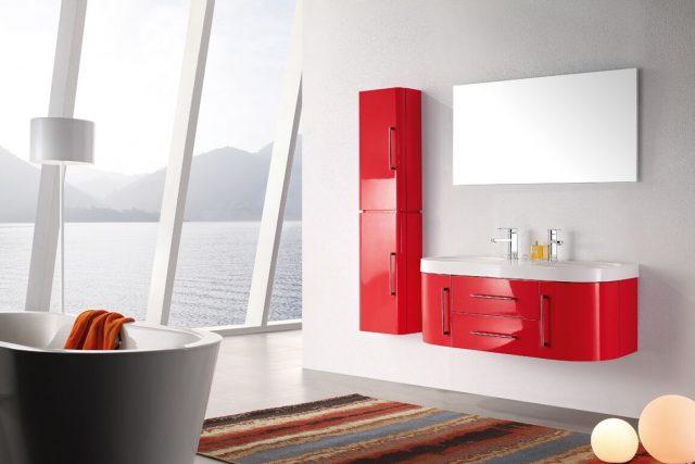 meuble de salle de bain couleur rouge