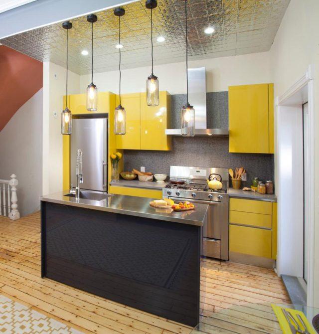 meubles de cuisine colore jaune