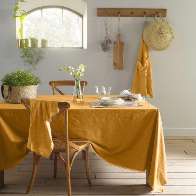 nappe en lin cuisine jaune