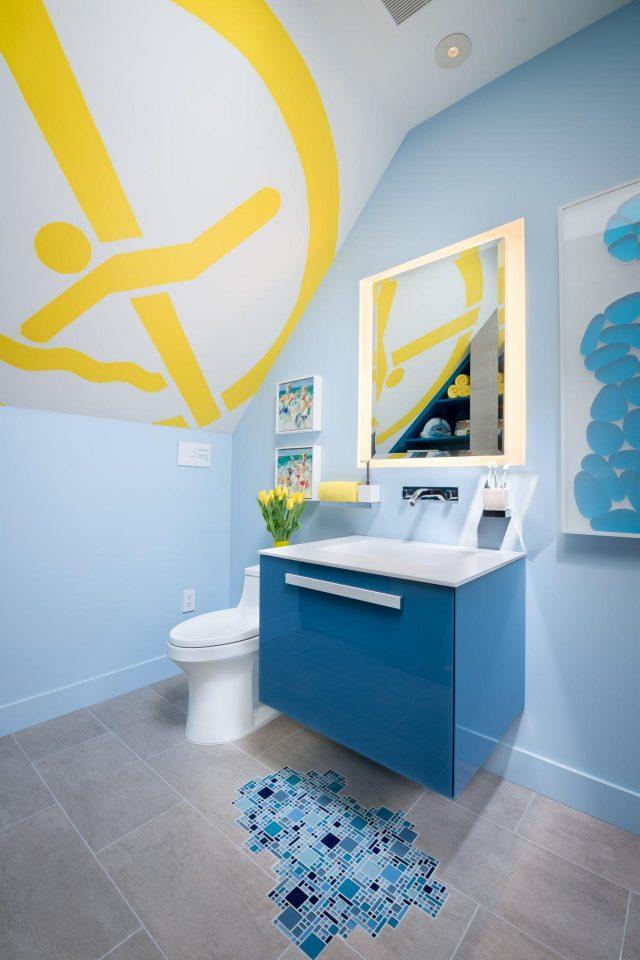 salle de bain enfant couleur bleue