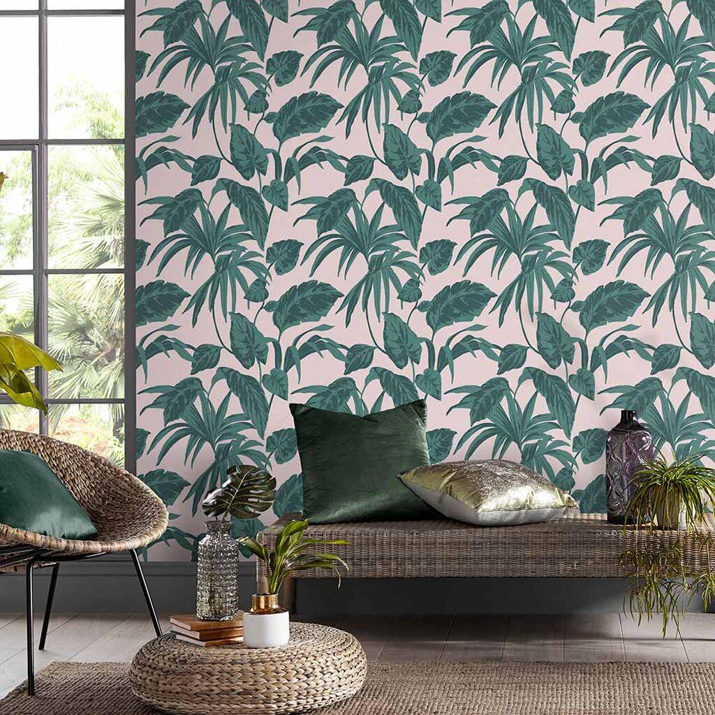 salon papier peint rose et vert tropical