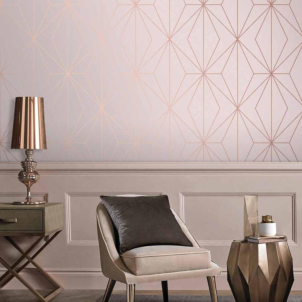salon papier peint rose geometrique