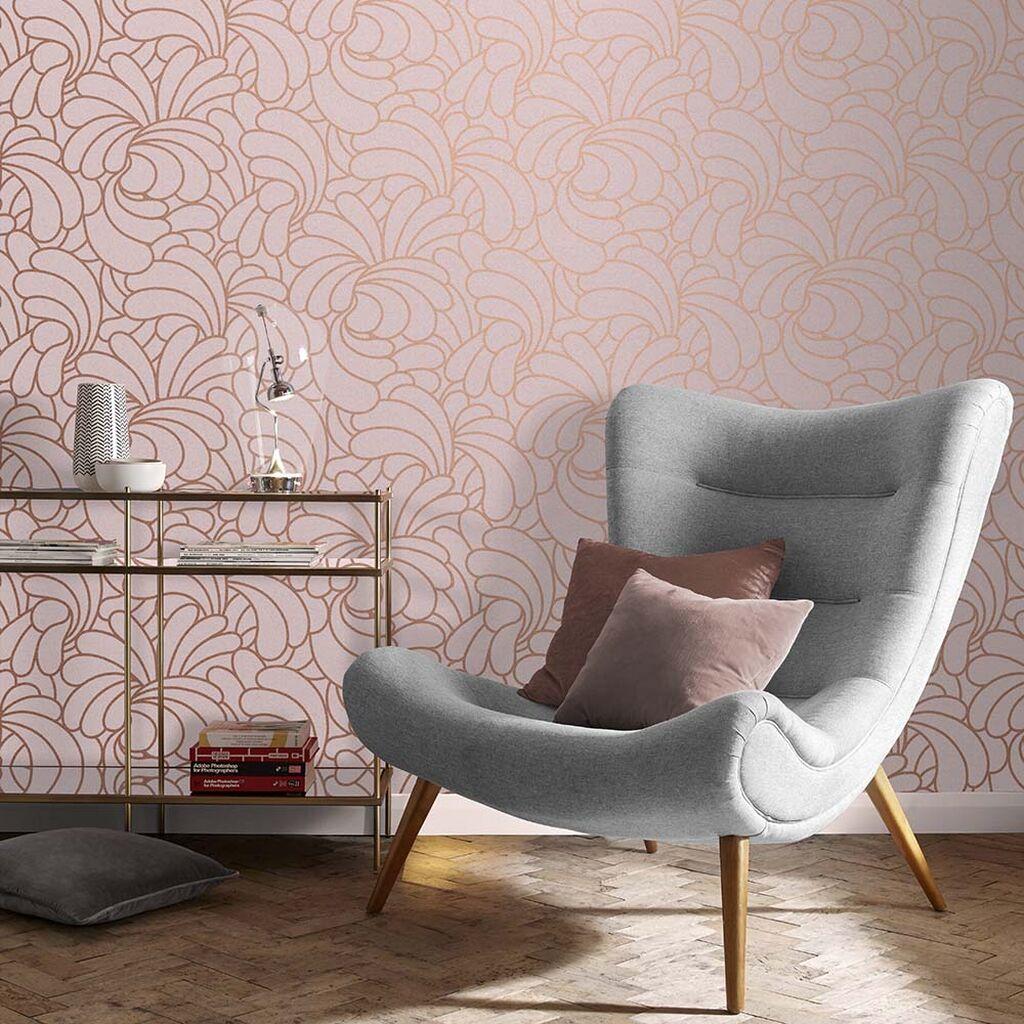 salon papier peint rose original