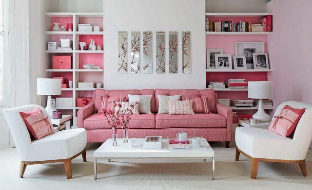 salon rose et blanc chic campagne