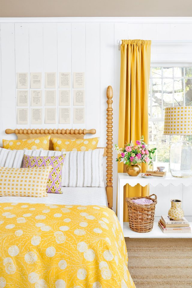 chambre jaune decoration campagne