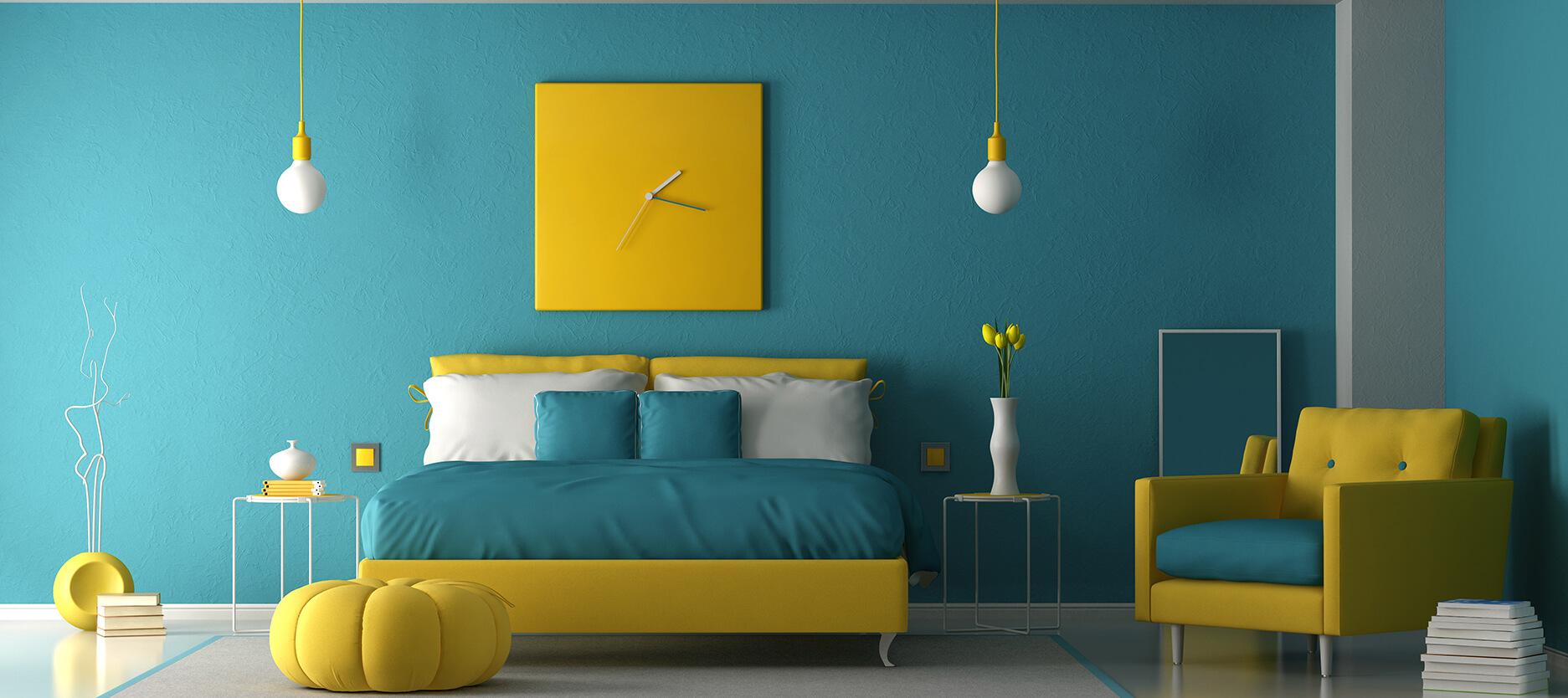 chambre jaune et bleu canard  Cocon - déco & vie nomade