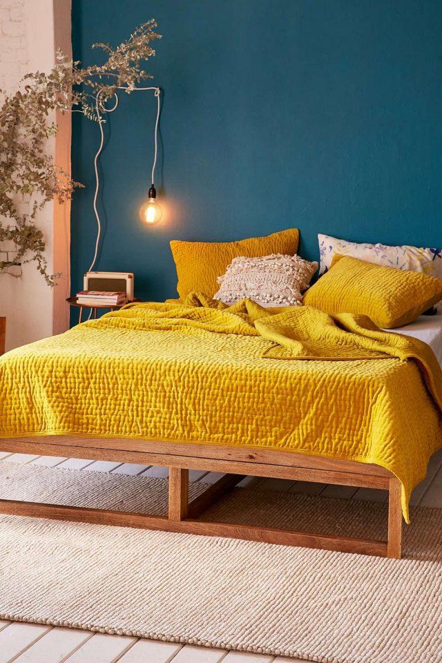chambre jaune et bleu tendance actuelle