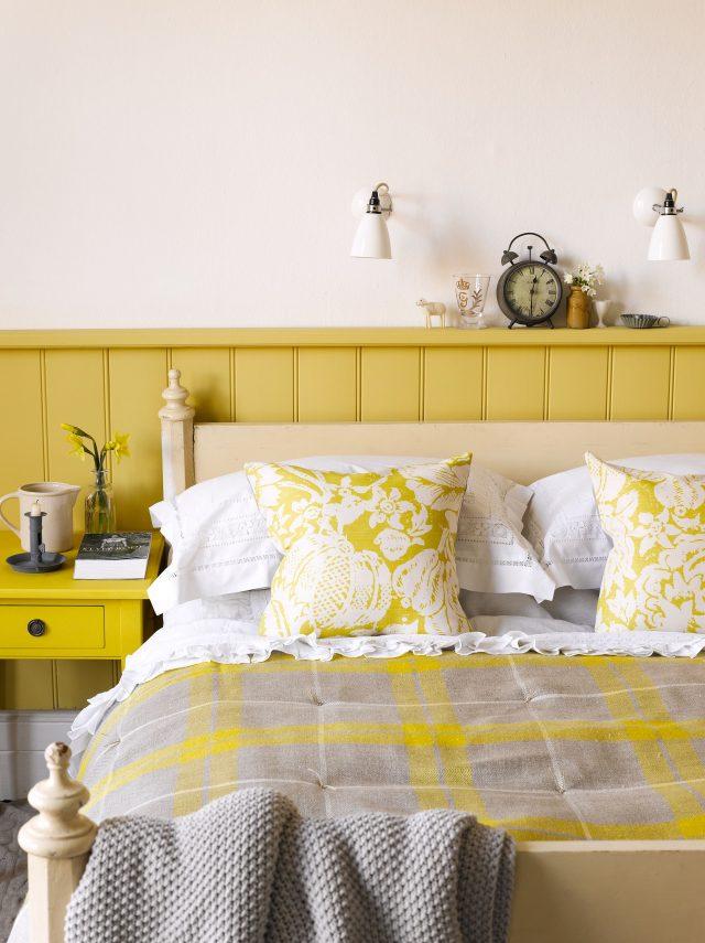 chambre jaune soubassement peinture