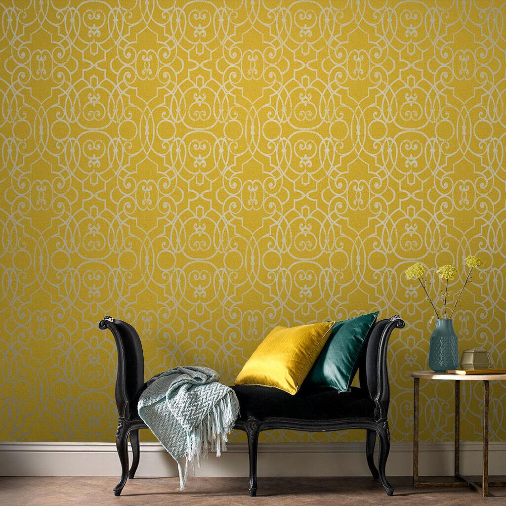 papier peint chambre jaune classique