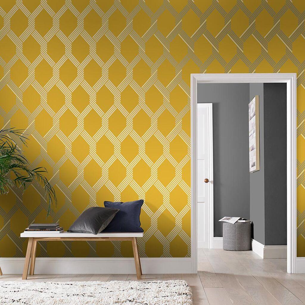 papier peint chambre jaune moderne