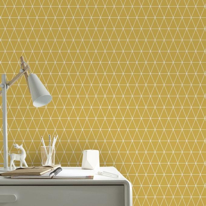 papier peint chambre jaune triangle