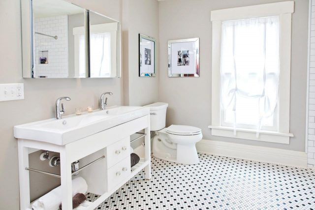 carrelage hexagonal petit format sol salle de bain