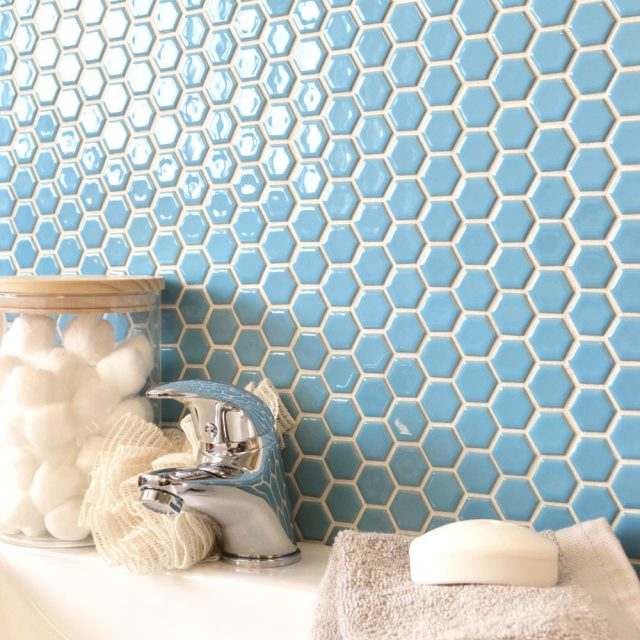 carrelage hexagonal salle de bain vintage