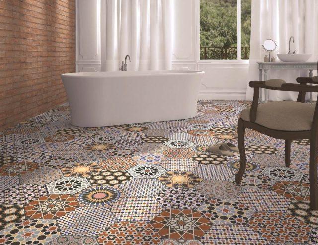 carrelage hexagonal sol motif carreaux de ciment
