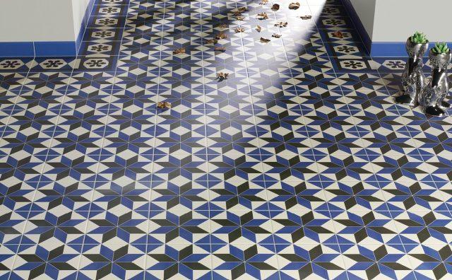 salle de bain bleu carrelage sol carreaux de ciment