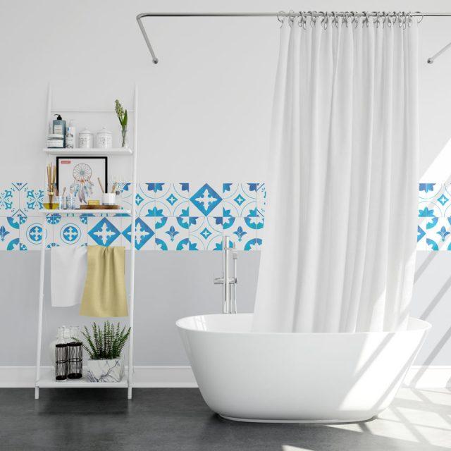 salle de bain bleu motif carreaux de ciment